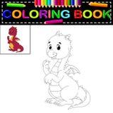 Χρωματίζοντας βιβλίο δράκων διανυσματική απεικόνιση