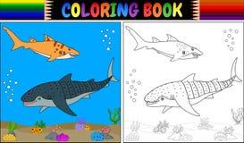 Χρωματίζοντας βιβλίο δύο καρχαρίας κινούμενων σχεδίων Στοκ Εικόνες