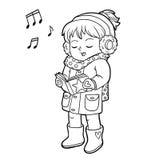 Χρωματίζοντας βιβλίο, κορίτσι που τραγουδά ένα τραγούδι Χριστουγέννων ελεύθερη απεικόνιση δικαιώματος