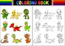 Χρωματίζοντας βιβλίο με λίγη συλλογή κινούμενων σχεδίων δεινοσαύρων Στοκ Φωτογραφίες