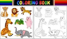 Χρωματίζοντας βιβλίο με τα κινούμενα σχέδια άγριων ζώων Στοκ Φωτογραφία