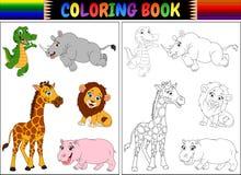 Χρωματίζοντας βιβλίο με τα κινούμενα σχέδια άγριων ζώων Στοκ εικόνες με δικαίωμα ελεύθερης χρήσης