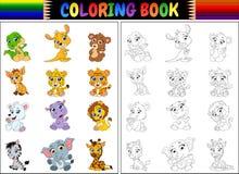 Χρωματίζοντας βιβλίο με τη συλλογή άγριων ζώων κινούμενων σχεδίων Στοκ φωτογραφία με δικαίωμα ελεύθερης χρήσης