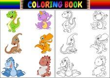 Χρωματίζοντας βιβλίο με τη συλλογή κινούμενων σχεδίων δεινοσαύρων Στοκ φωτογραφία με δικαίωμα ελεύθερης χρήσης
