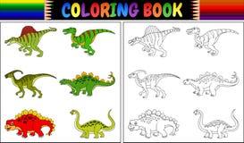 Χρωματίζοντας βιβλίο με τη συλλογή κινούμενων σχεδίων δεινοσαύρων Στοκ Εικόνες