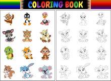 Χρωματίζοντας βιβλίο με τη συλλογή κινούμενων σχεδίων ζώων Στοκ Εικόνες