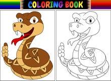 Χρωματίζοντας βιβλίο με τον κροταλία κινούμενων σχεδίων Στοκ Εικόνα