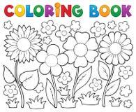 Χρωματίζοντας βιβλίο με το θέμα λουλουδιών απεικόνιση αποθεμάτων