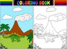 Χρωματίζοντας βιβλίο με το stegosaurus κινούμενων σχεδίων Στοκ Εικόνες