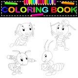Χρωματίζοντας βιβλίο μυρμηγκιών διανυσματική απεικόνιση