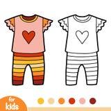 Χρωματίζοντας βιβλίο, πυτζάμες με την καρδιά ελεύθερη απεικόνιση δικαιώματος