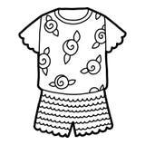 Χρωματίζοντας βιβλίο, πυτζάμες με το ροδαλό σχέδιο ελεύθερη απεικόνιση δικαιώματος