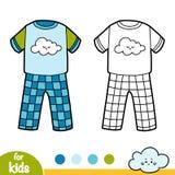 Χρωματίζοντας βιβλίο, πυτζάμες με το χαριτωμένο σύννεφο ελεύθερη απεικόνιση δικαιώματος