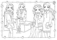Χρωματίζοντας βιβλίο της μελέτης κοριτσιών στο πανεπιστημιακό ναυπηγείο ελεύθερη απεικόνιση δικαιώματος