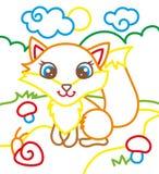 Χρωματίζοντας βιβλίο της χαριτωμένης αλεπούς απεικόνιση αποθεμάτων