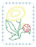 Χρωματίζοντας βιβλίο της χαριτωμένης πικραλίδας λουλουδιών ανοίξεων ελεύθερη απεικόνιση δικαιώματος