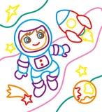 Χρωματίζοντας βιβλίο του αστροναύτη και του πυραύλου διανυσματική απεικόνιση