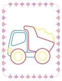 Χρωματίζοντας βιβλίο του μεγάλου φορτηγού απορρίψεων παιχνιδιών διανυσματική απεικόνιση