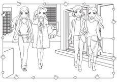 Χρωματίζοντας βιβλίο του περιπάτου κοριτσιών γύρω στην πόλη διανυσματική απεικόνιση