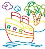 Χρωματίζοντας βιβλίο του σκάφους κοντά στο νησί ελεύθερη απεικόνιση δικαιώματος