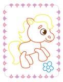 Χρωματίζοντας βιβλίο του χαριτωμένου αστείου ζωικού αλόγου απεικόνιση αποθεμάτων