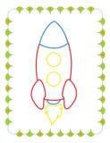 Χρωματίζοντας βιβλίο του χαριτωμένου γρήγορου πυραύλου παιχνιδιών απεικόνιση αποθεμάτων