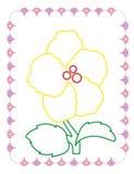 Χρωματίζοντας βιβλίο του χαριτωμένου κίτρινου όμορφου λουλουδιού απεικόνιση αποθεμάτων