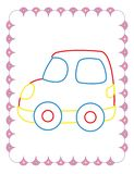 Χρωματίζοντας βιβλίο του χαριτωμένου κόκκινου αυτοκινήτου παιχνιδιών απεικόνιση αποθεμάτων