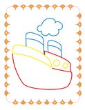 Χρωματίζοντας βιβλίο του χαριτωμένου μεγάλου σκάφους παιχνιδιών διανυσματική απεικόνιση