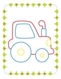 Χρωματίζοντας βιβλίο του χαριτωμένου μπλε τρακτέρ παιχνιδιών διανυσματική απεικόνιση