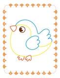 Χρωματίζοντας βιβλίο του χαριτωμένου πουλιού σπουργιτιών στην άνοιξη απεικόνιση αποθεμάτων