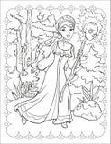 Χρωματίζοντας βιβλίο του όμορφου κοριτσιού στο δάσος στοκ εικόνα με δικαίωμα ελεύθερης χρήσης