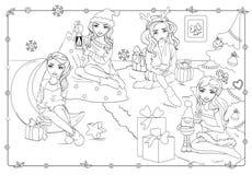 Χρωματίζοντας βιβλίο των κοριτσιών με τα δώρα Χριστουγέννων ελεύθερη απεικόνιση δικαιώματος