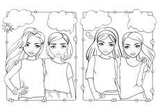 Χρωματίζοντας βιβλίο των κοριτσιών μόδας στα απλά πουκάμισα ελεύθερη απεικόνιση δικαιώματος