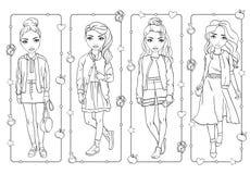 Χρωματίζοντας βιβλίο των κοριτσιών σπουδαστών στη σχολική στολή ελεύθερη απεικόνιση δικαιώματος
