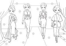 Χρωματίζοντας βιβλίο των κοριτσιών στα ιαπωνικά φορέματα ύφους ελεύθερη απεικόνιση δικαιώματος