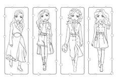 Χρωματίζοντας βιβλίο των κοριτσιών στα μοντέρνα παλτά τάφρων ελεύθερη απεικόνιση δικαιώματος