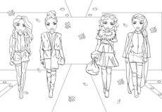 Χρωματίζοντας βιβλίο των κοριτσιών στα παλτά γουνών στο διάδρομο διανυσματική απεικόνιση