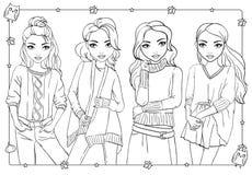 Χρωματίζοντας βιβλίο των κοριτσιών στα πλεκτά πουλόβερ ελεύθερη απεικόνιση δικαιώματος
