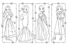 Χρωματίζοντας βιβλίο των κοριτσιών στα ρομαντικά φορέματα ανοίξεων διανυσματική απεικόνιση