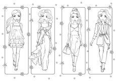 Χρωματίζοντας βιβλίο των κοριτσιών στα ρομαντικά φορέματα διανυσματική απεικόνιση