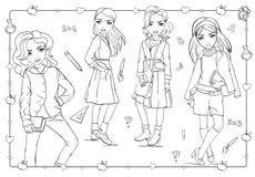 Χρωματίζοντας βιβλίο των κοριτσιών στα φορέματα σχολικών στολών ελεύθερη απεικόνιση δικαιώματος