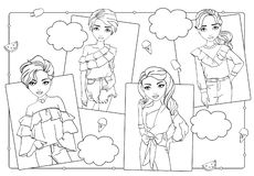 Χρωματίζοντας βιβλίο των κοριτσιών στις μπλούζες μόδας ελεύθερη απεικόνιση δικαιώματος