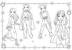 Χρωματίζοντας βιβλίο των κοριτσιών στο περπάτημα ενδυμάτων φθινοπώρου απεικόνιση αποθεμάτων
