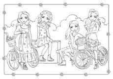 Χρωματίζοντας βιβλίο των ρομαντικών κοριτσιών με τα ποδήλατα ελεύθερη απεικόνιση δικαιώματος