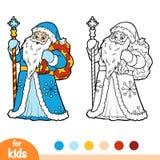Χρωματίζοντας βιβλίο, Ded Moroz, παγετός πατέρων διανυσματική απεικόνιση