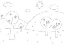 Χρωματίζοντας βιβλίο - απλό γεωμετρικό τοπίο άνοιξη ελεύθερη απεικόνιση δικαιώματος