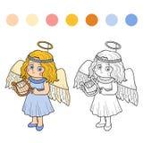 Χρωματίζοντας βιβλίο για τα παιδιά: Χαρακτήρες αποκριών (άγγελος) Στοκ Εικόνες