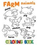 Χρωματίζοντας βιβλίο με τα ζώα αγροκτημάτων Στοκ Εικόνες