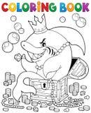 Χρωματίζοντας βιβλίο με τον καρχαρία και το θησαυρό Στοκ Φωτογραφία